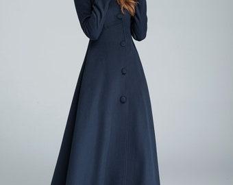 wool coat, winter coat, maxi coat, navy blue coat, warm winter coat, hooded coat, long wool coat (1637- S)