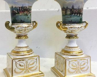 Lippert & Haas shlaggenwald porcelain Urns