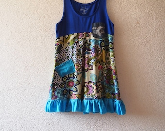 Tank Top, Boho Top, Colorful Top, Floral Top, Stretchy Top, Size M- L, Tank Top, Ruffled Top, Tee, Summer Tank Top, OOAK, Recyceld Goods