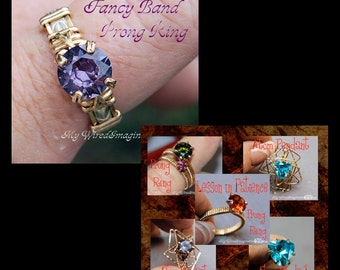 DIY Prong Rings Jewelry Tutorial Package, Wire Jewelry Tutorials, Fancy Band & Lesson in Patience, 20% Discount , Instant Download PDF Files