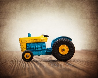Vintage Blue and Yellow Tractor on Wood Photo Print, Decorating Ideas, Wall Decor, Playroom decor,  Kids Room, Nursery Ideas, Gift Ideas,