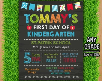 First Day of School Chalkboard Sign - First Day of School Printable Sign Photo Prop - Blue Back to School Boy ANY GRADE Any Age