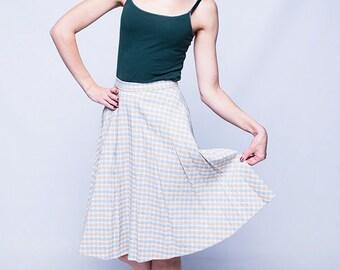 Plaid midi skirt, women skirt, beige vintage skirt, spring skirt, summer skirt, 90s, S