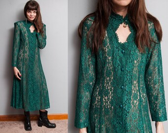 Vintage 1990's | Sheer | Green | Lace | Grunge | Dress | S
