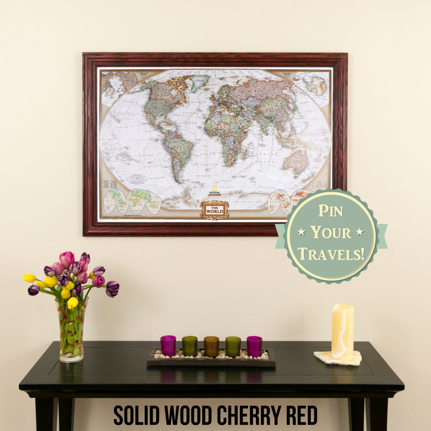 Executive World Travel Map With Pins And Frame Push Pin - Travel wall map with pins