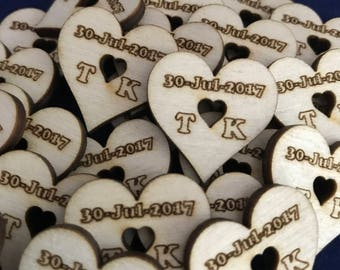 Personalised Rustic Wedding Table Confetti: Available in 25, 50, 100
