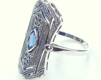 Size 7, Vintage, London Blue Topaz Ring, Sterling Silver Filigree Ring, Victorian Era, Edwardian Design Ring, Art Deco Ring