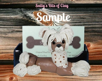 Brown and White Chinese Crested dog Business Card Holder / Iphone / Cell phone / Post it Notes OOAK sculpture by Sally's Bits of Clay