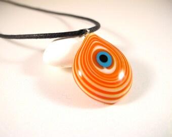 Orange Swirls Evil Eye Pendant Necklace