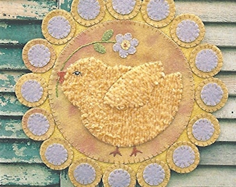 Instant Download Folk Art Penny Rug Wool Applique Craft E-Pattern Spring Chick Easter Decor Candlemat