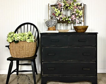 SOLD  Black 3 drawers Vintage  dresser distressed farmhouse style