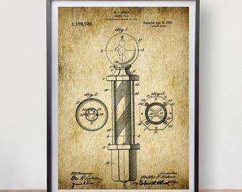 Barber Pole W.F Patent Poster Game Room Vintage Art Retro Print Home Wall Decor