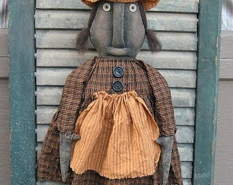 Wanda Witch EPATTERN - primitive halloween black cloth doll craft digital download sewing pattern - PDF - 1.99