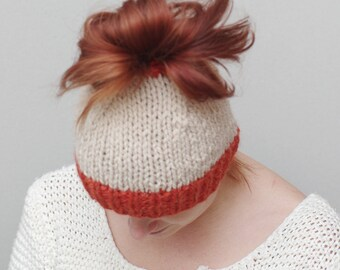 Messy bun hat, messy bun beanie, ponytail beanie, knit wool bun hat, natural white hat, ready to ship, popuar hat, popular item
