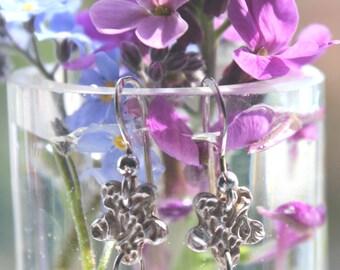Silver cherry blossom earrings, cherry blossom earrings, silver blossom earrings, blossom earrings, blossom drop earrings