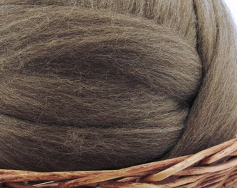 Brown Blue Face Leicester Wool Top Roving - Undyed Spinning & Felting Fiber /1oz