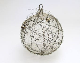 Vintage Glass Christmas Ornament/Feather Tree West Germany Crinkle Wire Bead Ornament/ Wired Round Ornament/ Wire Tinsel Ornament