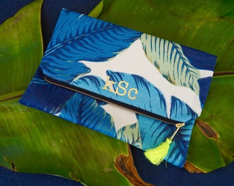 BlueTropical Palm Foldover Clutch