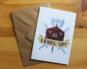 Level Up Card / D&D Birthday Card / DnD Gift / D and D Card / DnD Birthday Card / Funny Birthday Card / Wisdom Card / DM Birthday Card