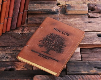 Oak Tree Personalized Monogrammed Leather Engraved  Recipe Cookbook Notebook (024205)