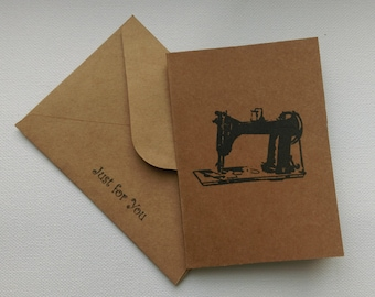 Vintage style Sewing Machine Greeting Card A7 with 'Just for You' envelope