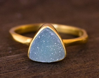 Gold Blue Druzy Pyramid Ring - Winter Jewelry - Something Blue