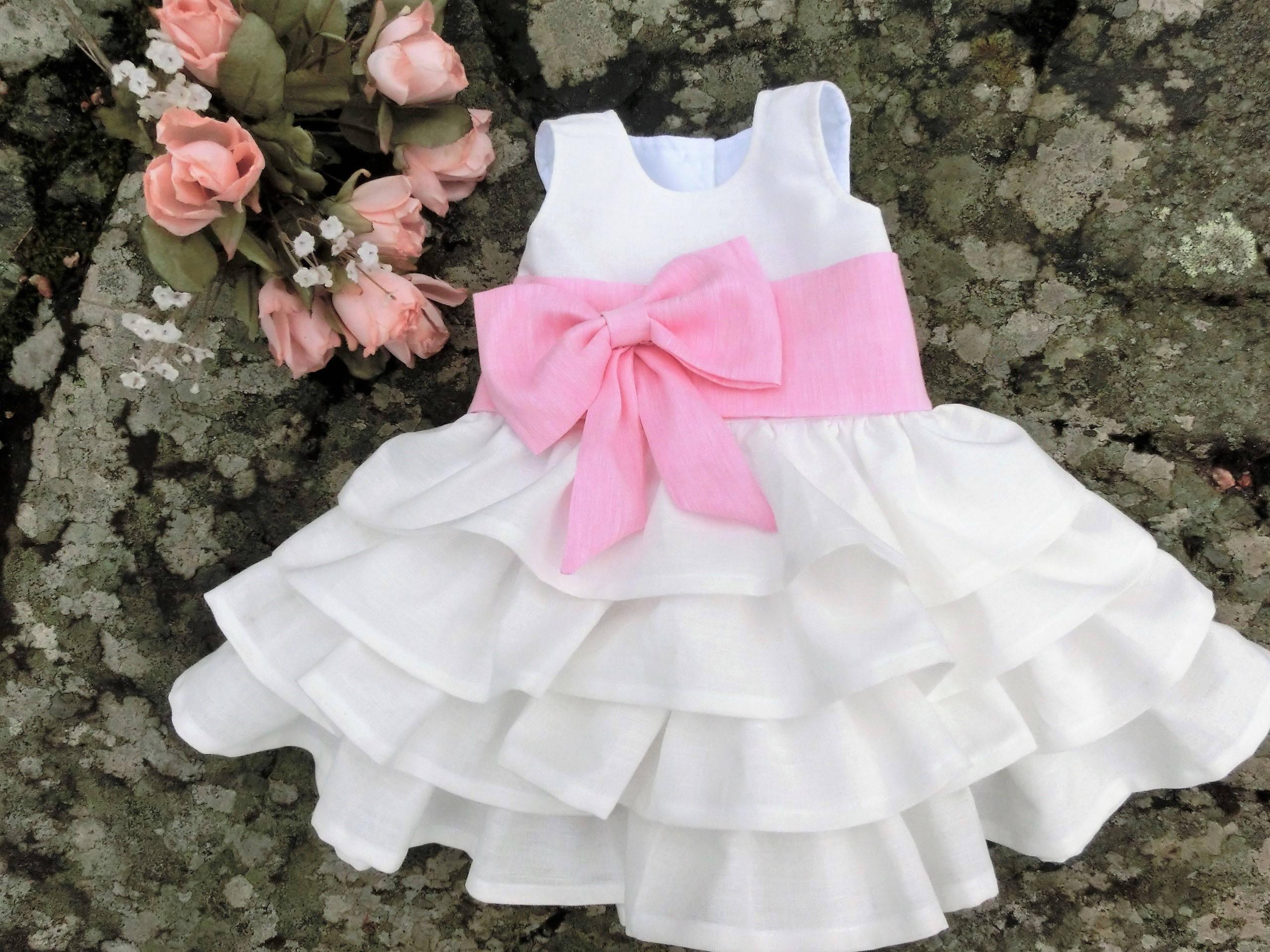 First birthday dress Baby flower girl dress f white baby