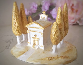 Vitaleta chapel/Tuscany gift/church miniature/shabby chic/white and gold/tuscany wedding/Vitaleta church/Siena countryside/country church