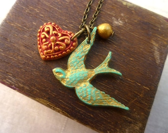 Bird Necklace - Bird and Heart Necklace - Turquoise Red and Gold