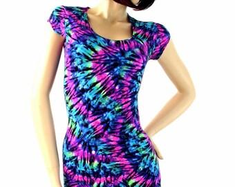 NEON UV Glow Tie Dye Print Lycra Spandex Bodycon Clubwear Dress with Scoop Neckline and Cap Sleeves   -E7822
