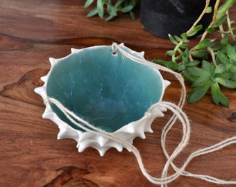 Blue Conch Hanging Planter - White Modern Ceramic Indoor Planter Bowl Modern Planter Ceramic Pot