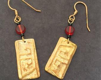 Bronze Handcrafted Geometric Patterned Earrings