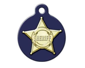 Sheriff Badge Engraved Pet ID Tag