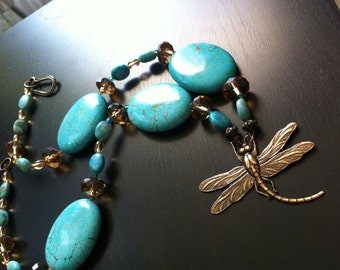 Smokey Quartz Crystal Dragonfly Statement Necklace and Earring Set by DENISE SLOAN