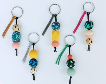 The Keychain to Happiness   Handpainted wooden bead keychain