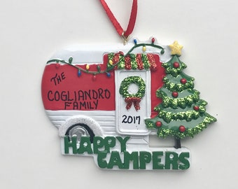 Happy Camper Personalized Christmas Ornaments / Camping Ornament / Glamping / Trailer / Vacation