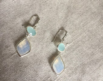 Opalite drops on sterling silver wires, opalite earrings, bridal jewelry, Mothers Day Gift