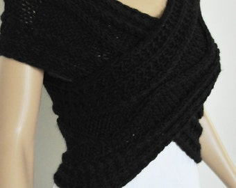 Super Slim - Cross Sweater/Capelet/Neck warmer in BLACK
