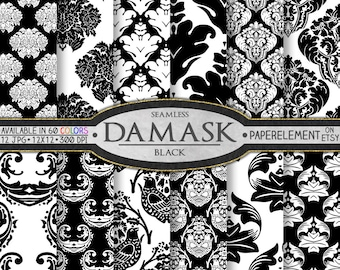 Black Damask Digital Paper: Damask Black, Damask Paper, Black Damask Printables, Black Digital Damask Instant Download, Digital Black Damask