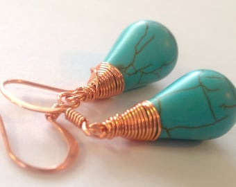 Copper, Wire-Wrapped Turquoise Earrings