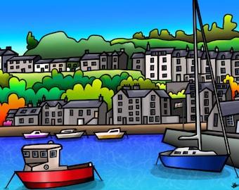 Porthmadog Harbour - colourful fine art print by Amanda Hone
