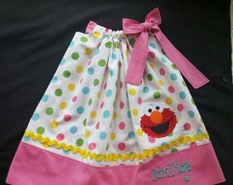 Girls Elmo Pillow Case Dress - Pink Trim
