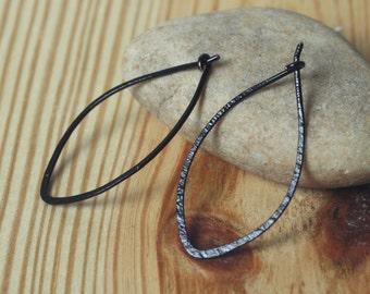 Handmade blackened brass leaf hoop 40x16mm, one pair (item ID BK14-1G18)