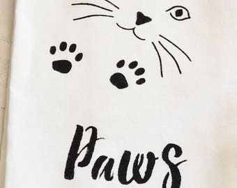 Cat Paws to Dry 100% Linen Tea Towel