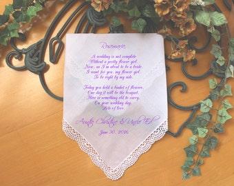 Flower Girl Wedding handkerchief-PRINT-CUSTOMIZE-Lace Hankerchief-Wedding Hankies-Wedding favor-Bride Gift to Flower Girl-Wedding-FCAC[154]