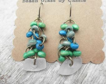 Bead and Glass Earrings Lake Erie Beach Glass Ohio