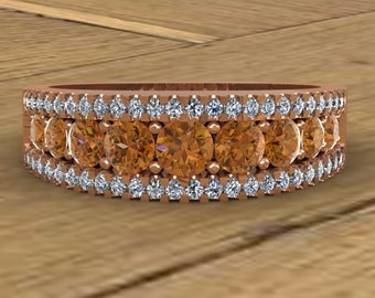 Cognac Diamond Band - 14k Rose Gold Ring - Cognac and White Diamonds - Three Row Channel - An Original Design by Charles Babb