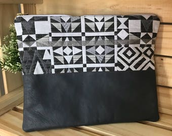 Grey Woven aztec clutch with leather