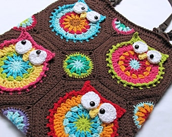 CROCHET PATTERN - Owl Tote'em - a colorful crochet owl tote pattern, colorful owl bag pattern, purse pattern w/ owls - Instant PDF Download