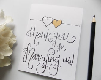Thank you for Marrying Us Card -  Officiant Thank You Card - Wedding Thank You Card -Priest Pastor Thank You Card - Card for Officiant